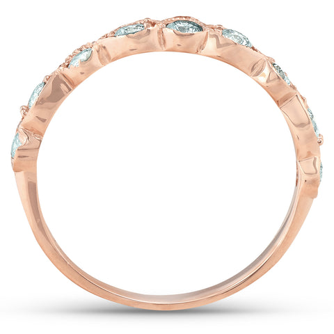 1/3Ct Diamond Wedding Ring Womens Stackable 14k Rose Gold Anniversary Band