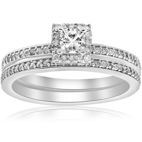 Princess Cut Diamond Engagement Matching Wedding Halo Ring Set 14k White Gold