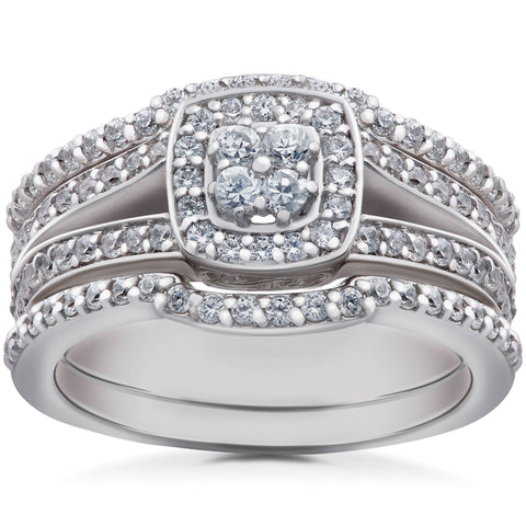 1 1/6 ct TDW Cushion Halo Diamond Trio Engagement Guard Wedding Ring Set Gold
