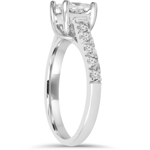 1 1/4ct Cathedral Pave Enhanced Princess Cut Diamond Accent Ring 14K White Gold