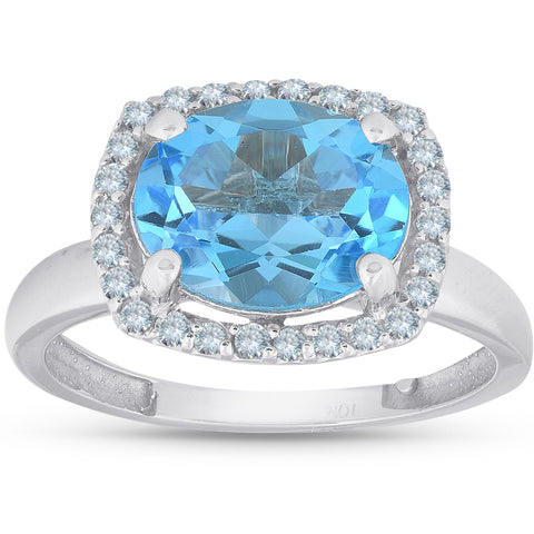 2ct Oval Blue Topaz and Natural Diamond Halo Ring 10K White Gold
