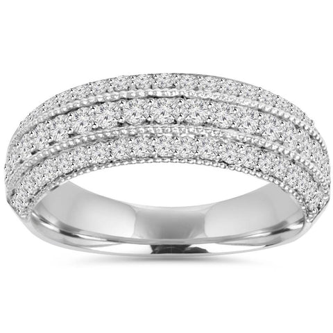 I1/G Pave Set 0.85Ct Milgrain Real Diamond 14Kt Solid Gold Anniversary Ring Band