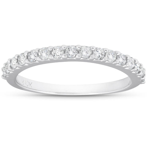 1/2ct Diamond Wedding Ring Stackable Womens Anniversary Band 10K White Gold