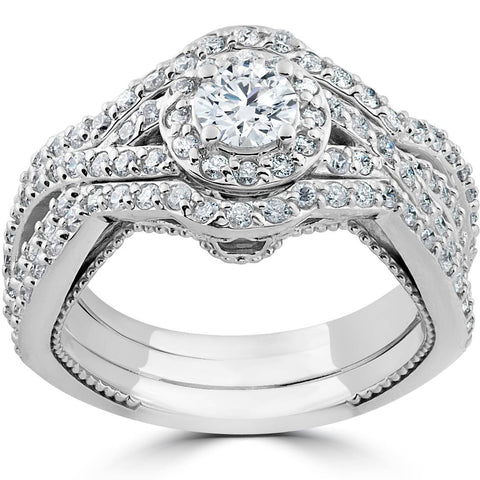 1 1/2ct Diamond Halo Engagement Trio Infinity Vintage Ring Set 10k White Gold