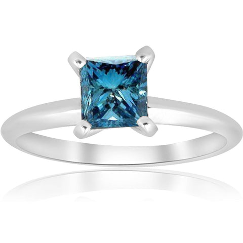 VS 1ct Blue Princess Cut Diamond Solitaire Engagement Ring 14k White Gold Heated