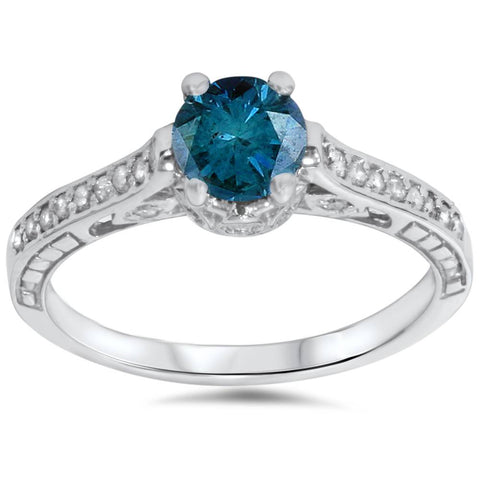 1 1/4ct Vintage Treatd Blue Diamond Engagement Ring White Gold Round Solitaire