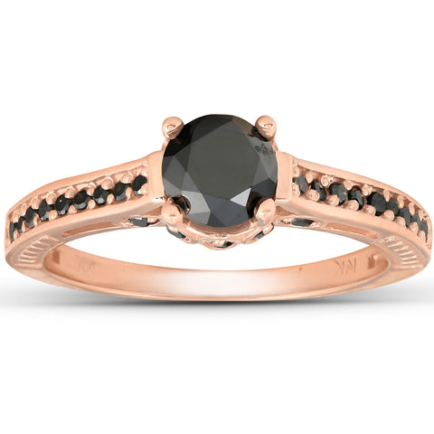 1 1/4ct Vintage Round Cut Black Diamond Engagement Ring 14K Rose Gold