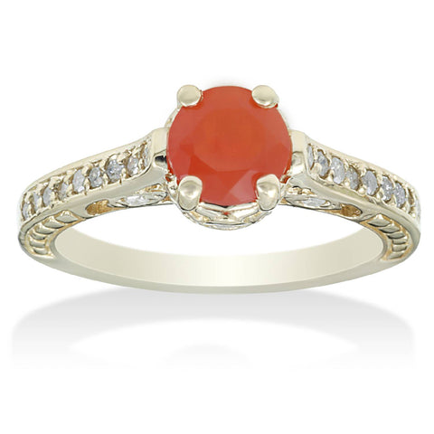 1 1/10ct Fire Opal & Diamond Vintage Ring 14K Yellow Gold