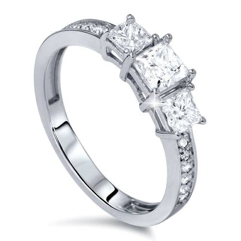 1 1/10ct Princess Cut Diamond Three Stone Engagement Ring 14K White Gold