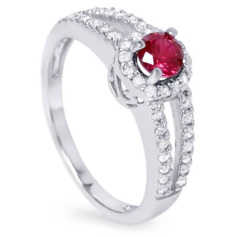3/4ct Ruby & Diamond Split Shank Ring 14K White Gold