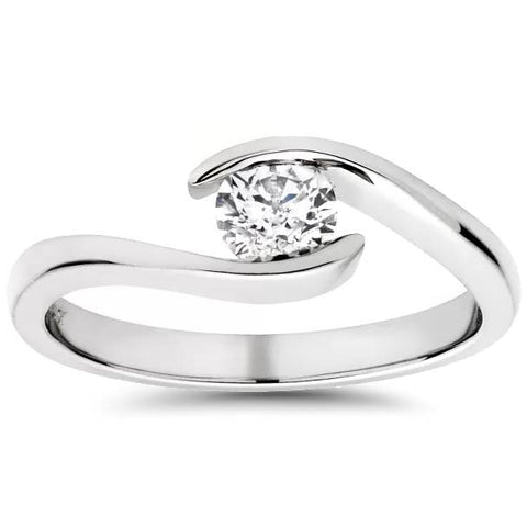 Solitaire Round Diamond Engagement Ring 1/3 ct Bypass Tension Set 14k White Gold