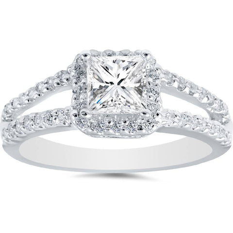 1 Ct Princess Cut Diamond Halo Engagement Ring 14k White Gold Enhanced