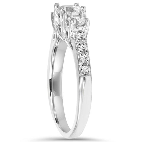1 1/4ct Diamond Three Stone Accent Ring 14K White Gold