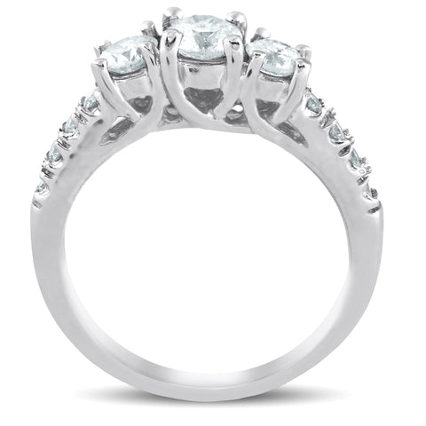 1 1/10 Ct Diamond Three Stone Engagement Ring 14K White Gold