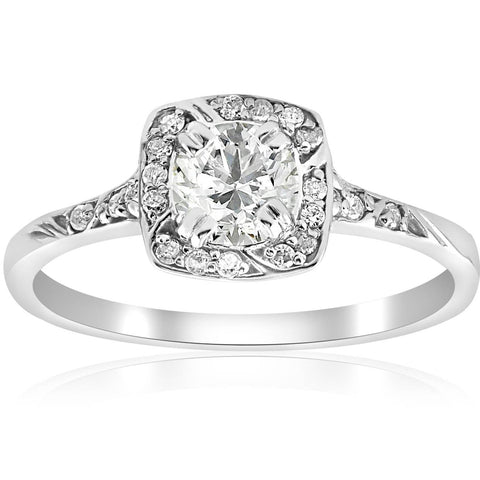 1 ct Diamond Cushion Halo Engagement Ring .90ct Center Vintage Antique Deco 14k