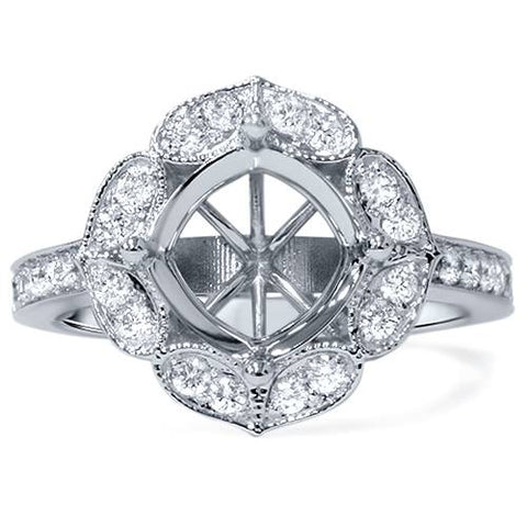 1/2ct Antique Diamond Halo Engagement Ring Setting 14K White Gold