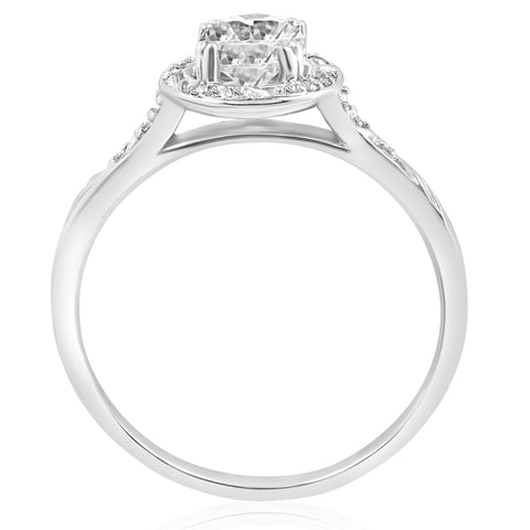 1 ct Diamond Vintage Halo 3/4ct ctr Engagement Ring Deco Design 14k White Gold