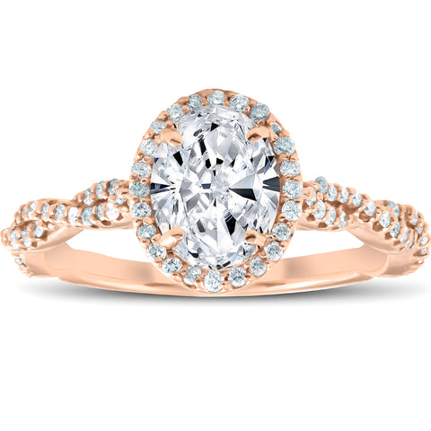 SI/G 1.25 Ct Oval Halo Diamond Infinity Engagement Ring 14k Rose Gold Enhanced