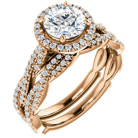 G/SI 1.50ct Diamond Halo Vine Engagement Wedding Ring Set Rose Gold Enhanced