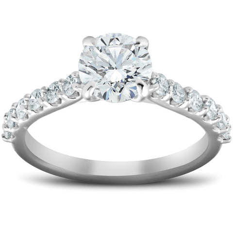 SI/G 2 CT Diamond Engagement Ring 14k White Gold Clarity Enhanced