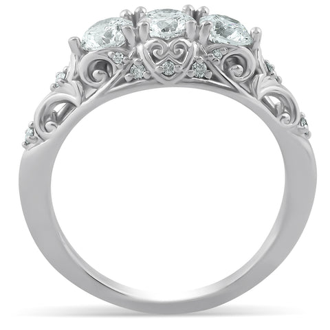 1ct Three Stone Vintage Engagement Ring 14k White Gold