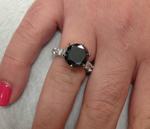 9CT Treated Black & White Diamond Eternity Engagement Ring Solid 14K White Gold