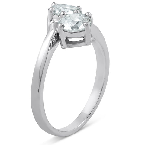 1 1/2 Ct Two Stone Diamond Forever Us Engagement Ring 14k White Gold