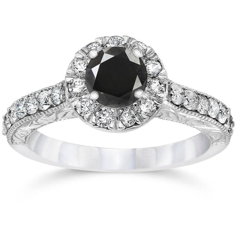 1 3/4ct Vintage Treated Black Diamond Engagement Ring 14K White Gold