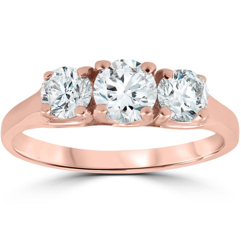1ct Three Stone Solitaire Diamond Anniversary Engagement Ring 14k Rose Gold