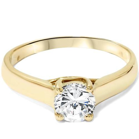 1ct Clarity Enhanced Diamond Solitaire Engagement Ring 14K Yellow Gold