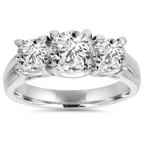 1 1/4ct Three Stone Diamond Engagement Ring Platinum