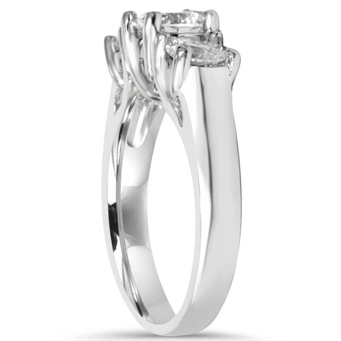2ct Three Stone Diamond Engagement Ring 14k White Gold Round Brilliant Solitaire