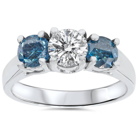1 3/4ct Treated Blue  Diamond 3 Stone Engagement 14K White Gold Ring Solitaire