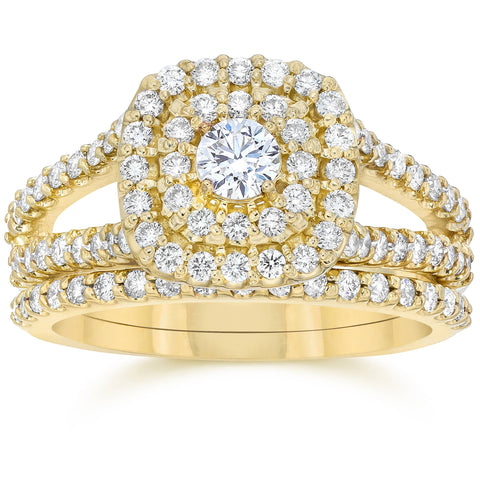 1.10Ct Cushion Halo Solitaire Diamond Engagement Wedding Ring Set Yellow Gold