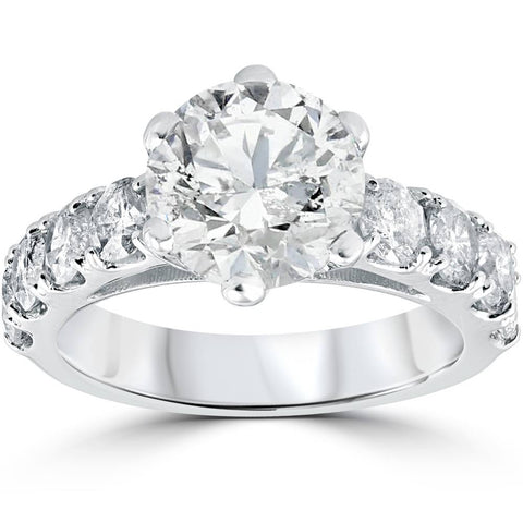 4 1/2 cttw Diamond Engagement Ring 14k White Gold Enhanced