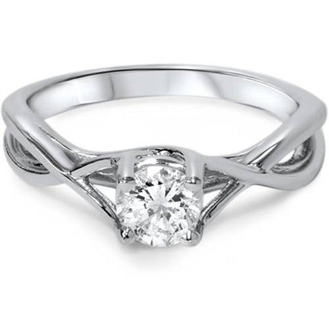 1/2ct Diamond Infinity Solitaire Engagement Ring 14K White Gold Round Solitaire