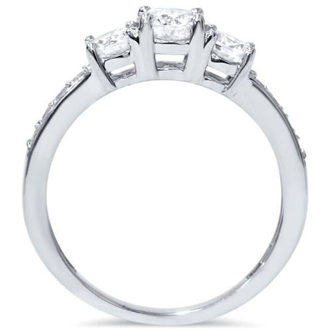 1 1/10ct 3-Stone Diamond Engagement Ring 14K White Gold
