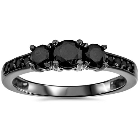 1 1/5ct Black Treated Diamond 3 Stone Engagement Annivesary Ring 10K Black Gold