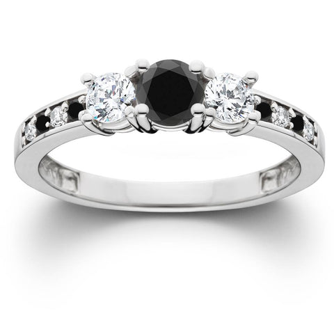 1 1/4 Ct Heat Treated Black Diamond Engagement 3 Stone Ring 10K White Gold