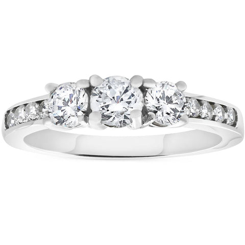 1.00 ct 3-stone Diamond Engagement Ring 14K White Gold
