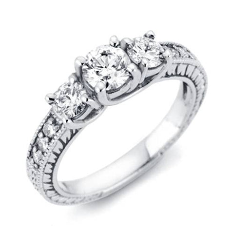 1/3ct Vintage Three Stone Round Diamond Engagement Ring 14K White Gold