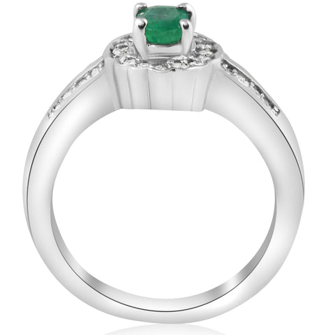 1 1/2ct Emerald & Diamond Halo Ring 14K White Gold Double Row