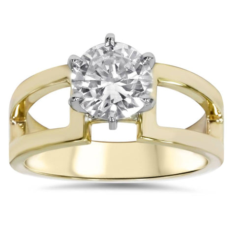 2ct Round Solitaire Clarity Enhanced Diamond Engagement Ring 14K Yellow Gold