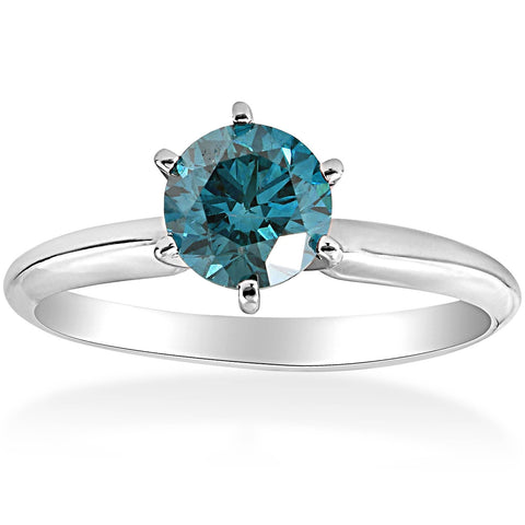 1 1/2ct Treated Blue Diamond Solitaire Engagement Ring 14K White Gold Round Cut