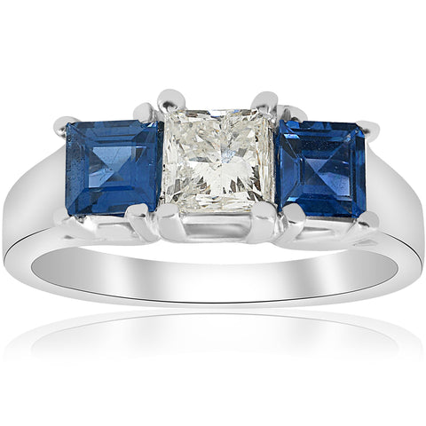 1 1/2ct Princess Cut Diamond Blue Sapphire Engagement Ring White Gold Enhanced