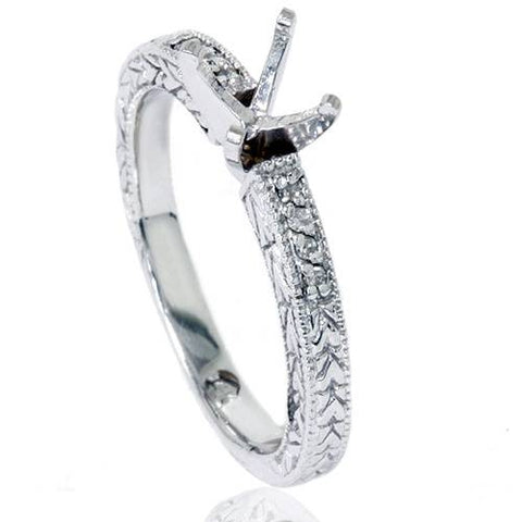 1/10ct Vintage Diamond Ring Setting 14K White Gold