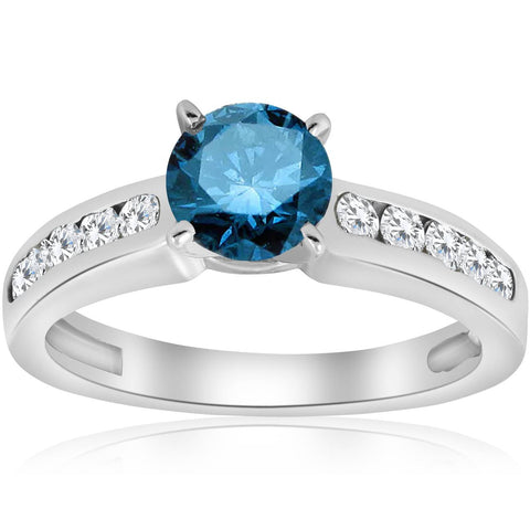 1 1/2 ct Blue Diamond Solitaire Engagement Ring White Gold Channel Set Treated