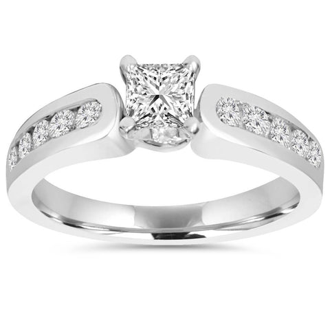 1.00Ct Natural Princess Cut Diamond Womens Engagement Ring 14K White Gold