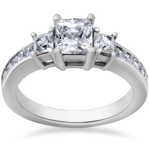 Princess Cut Diamond Engagement Ring 3-Stone 1 1/2ct 14k White Gold