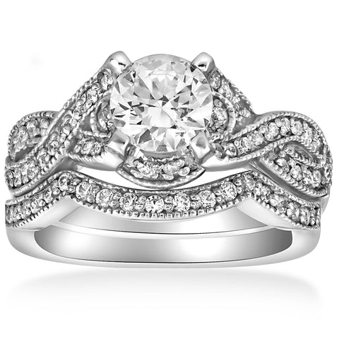 1 1/2ct Infinity Vintage Diamond Engagement ]Ring Set 14K White Gold Enhanced